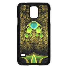 Beautiful Gold And Green Fractal Peacock Feathers Samsung Galaxy S5 Case (black)