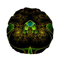 Beautiful Gold And Green Fractal Peacock Feathers Standard 15  Premium Flano Round Cushions