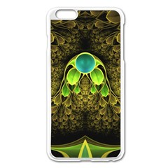 Beautiful Gold And Green Fractal Peacock Feathers Apple Iphone 6 Plus/6s Plus Enamel White Case