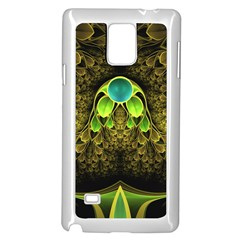 Beautiful Gold And Green Fractal Peacock Feathers Samsung Galaxy Note 4 Case (white)
