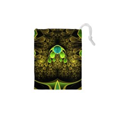 Beautiful Gold And Green Fractal Peacock Feathers Drawstring Pouches (xs)