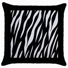 Skin3 Black Marble & White Linen (r) Throw Pillow Case (black)