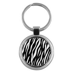Skin3 Black Marble & White Linen (r) Key Chains (round)