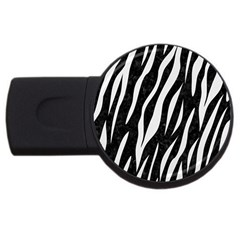 Skin3 Black Marble & White Linen (r) Usb Flash Drive Round (4 Gb)