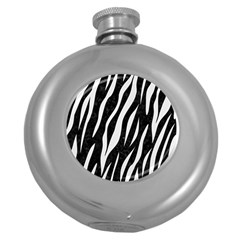 Skin3 Black Marble & White Linen (r) Round Hip Flask (5 Oz)