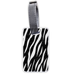 Skin3 Black Marble & White Linen (r) Luggage Tags (one Side)