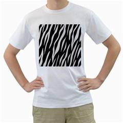 Skin3 Black Marble & White Linen (r) Men s T Shirt (white)