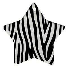 Skin4 Black Marble & White Linen Ornament (star)