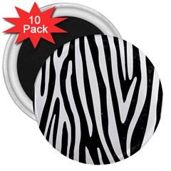 Skin4 Black Marble & White Linen 3  Magnets (10 Pack)