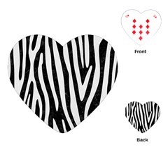 Skin4 Black Marble & White Linen Playing Cards (heart)