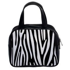 Skin4 Black Marble & White Linen Classic Handbags (2 Sides)