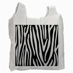 Skin4 Black Marble & White Linen Recycle Bag (one Side)
