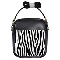 Skin4 Black Marble & White Linen Girls Sling Bags