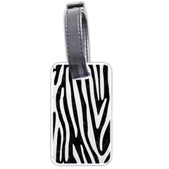 Skin4 Black Marble & White Linen Luggage Tags (one Side)