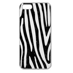 Skin4 Black Marble & White Linen Apple Seamless Iphone 5 Case (clear)