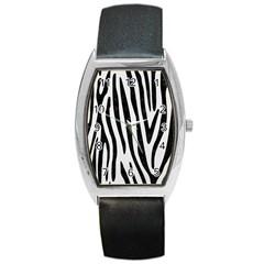 Skin4 Black Marble & White Linen (r) Barrel Style Metal Watch