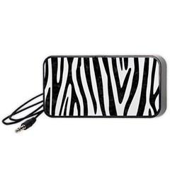 Skin4 Black Marble & White Linen (r) Portable Speaker