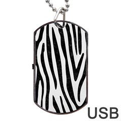 Skin4 Black Marble & White Linen (r) Dog Tag Usb Flash (one Side)