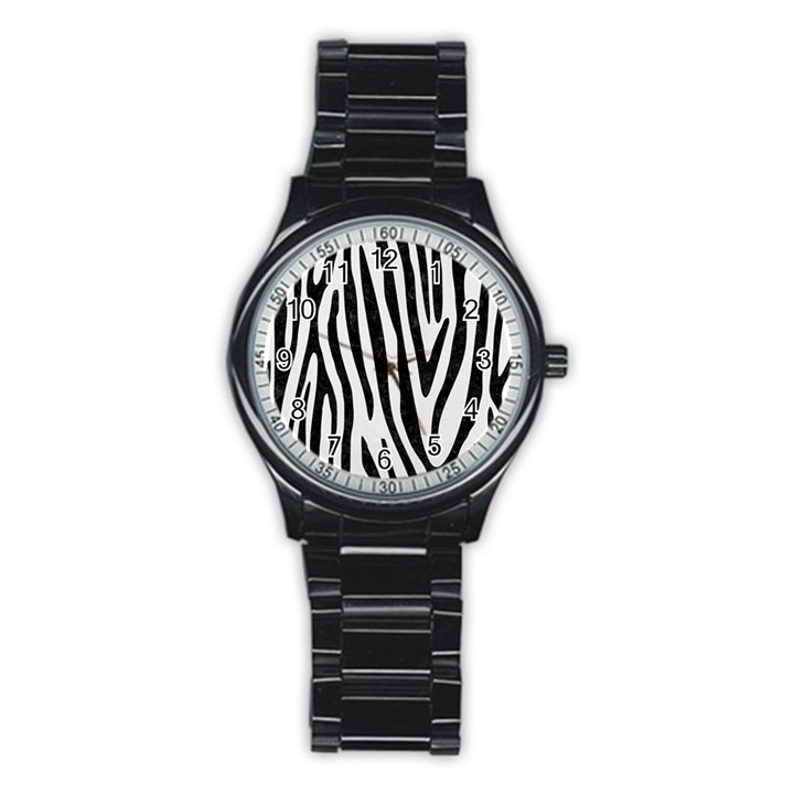 SKIN4 BLACK MARBLE & WHITE LINEN (R) Stainless Steel Round Watch