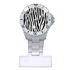 Skin4 Black Marble & White Linen (r) Plastic Nurses Watch