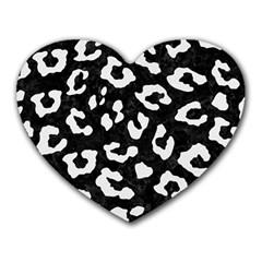 Skin5 Black Marble & White Linen Heart Mousepads