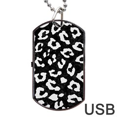 Skin5 Black Marble & White Linen Dog Tag Usb Flash (one Side)