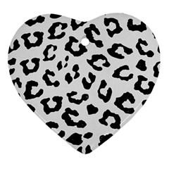 Skin5 Black Marble & White Linen (r) Ornament (heart)
