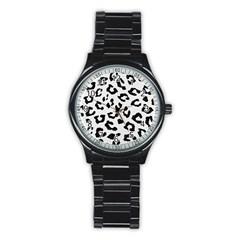 Skin5 Black Marble & White Linen (r) Stainless Steel Round Watch