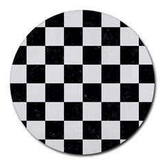 Square1 Black Marble & White Linen Round Mousepads