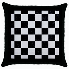 Square1 Black Marble & White Linen Throw Pillow Case (black)