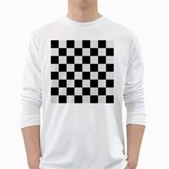 Square1 Black Marble & White Linen White Long Sleeve T Shirts