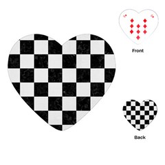 Square1 Black Marble & White Linen Playing Cards (heart)