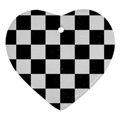 Square1 Black Marble & White Linen Heart Ornament (two Sides)