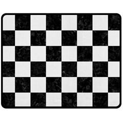 Square1 Black Marble & White Linen Fleece Blanket (medium)