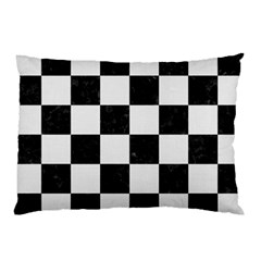 Square1 Black Marble & White Linen Pillow Case (two Sides)
