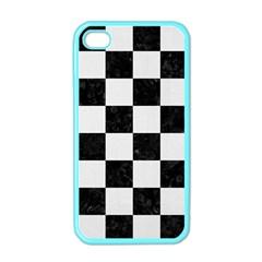 Square1 Black Marble & White Linen Apple Iphone 4 Case (color)