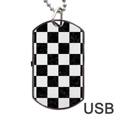 Square1 Black Marble & White Linen Dog Tag Usb Flash (one Side)