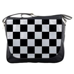 Square1 Black Marble & White Linen Messenger Bags