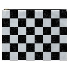 Square1 Black Marble & White Linen Cosmetic Bag (xxxl)