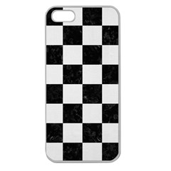 Square1 Black Marble & White Linen Apple Seamless Iphone 5 Case (clear)