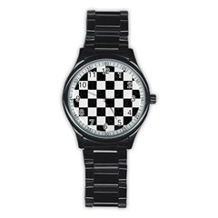 Square1 Black Marble & White Linen Stainless Steel Round Watch