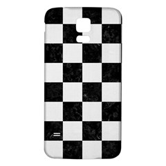 Square1 Black Marble & White Linen Samsung Galaxy S5 Back Case (white)