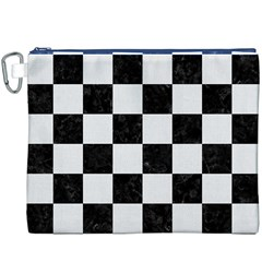 Square1 Black Marble & White Linen Canvas Cosmetic Bag (xxxl)