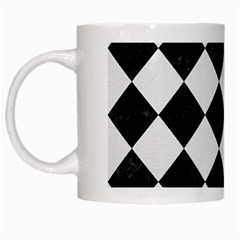 Square2 Black Marble & White Linen White Mugs