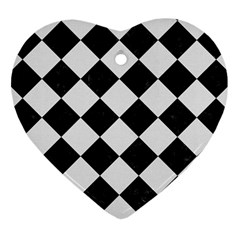 Square2 Black Marble & White Linen Heart Ornament (two Sides)