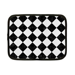 Square2 Black Marble & White Linen Netbook Case (small)
