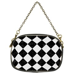 Square2 Black Marble & White Linen Chain Purses (one Side)