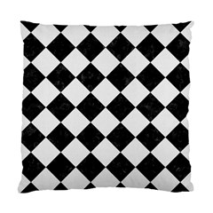 Square2 Black Marble & White Linen Standard Cushion Case (two Sides)