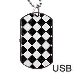 Square2 Black Marble & White Linen Dog Tag Usb Flash (one Side)
