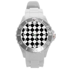 Square2 Black Marble & White Linen Round Plastic Sport Watch (l)
